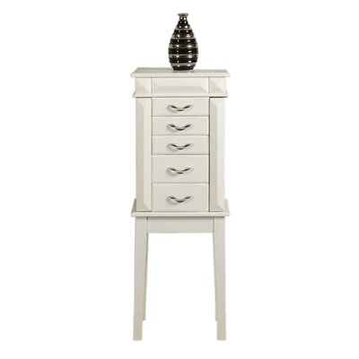 Granada Jewelry Armoire with Mirror Color: White