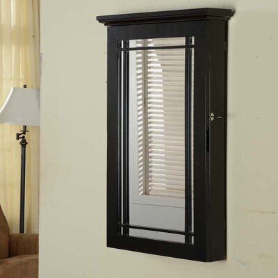 Border Wall Mounted Jewelry Armoire Color: Black