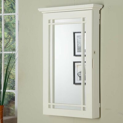 Border Wall Mounted Jewelry Armoire Finish: White