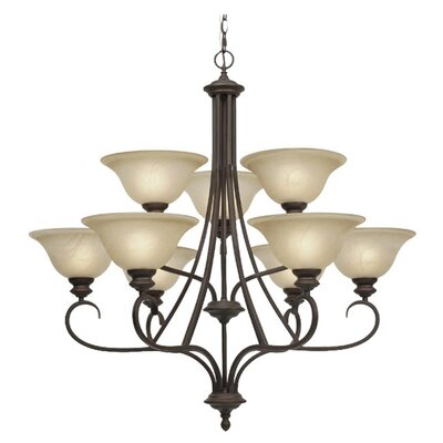Alberta 9-Light Shaded Chandelier Finish: Rubbed Bronze