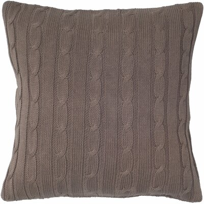 Cable Knit Wooden Button Closure Throw Pillow Color: Mocha