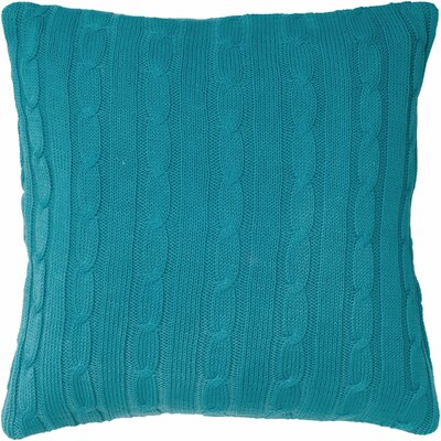 Cable Knit Wooden Button Closure Throw Pillow Color: Turquoise