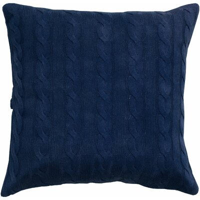 Cable Knit Wooden Button Closure Throw Pillow Color: Navy