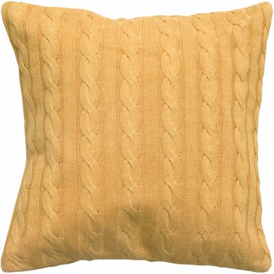 Cable Knit Wooden Button Closure Throw Pillow Color: Mustard