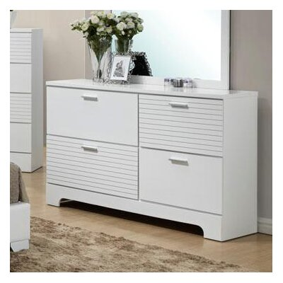 Moderno 4 Drawer Standard Dresser Finish: White