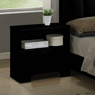 Moderno 1 Drawer Nightstand Color: Black