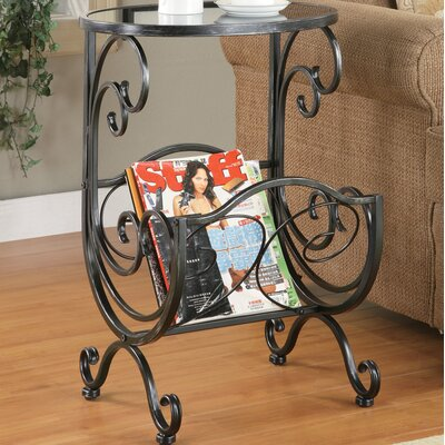 Hayton End Table with Magazine Rack in Gun Metal