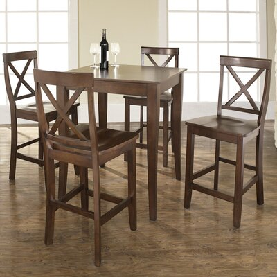 5 Piece Counter Height Pub Table Set Color: Vintage Mahogany