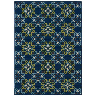 Newfield Blue/Green Indoor/Outdoor Area Rug Rug Size: Rectangle 37 x 56