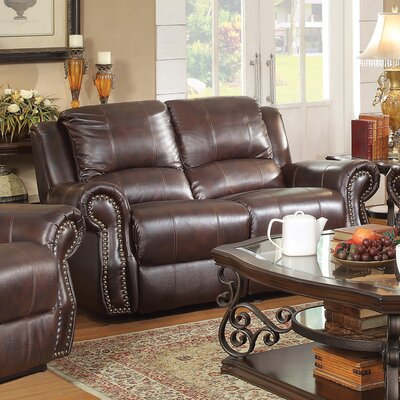 761273 CST16845 Wildon Home Leather Motion Reclining Loveseat