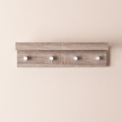 Alex 4 Hook Wall Mounted Coat Rack Finish: Dark Oak
