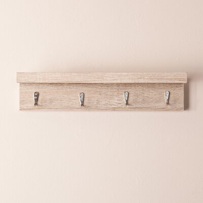 Alex Wall Mount Shelf with Hooks Finish: Weathered Bone