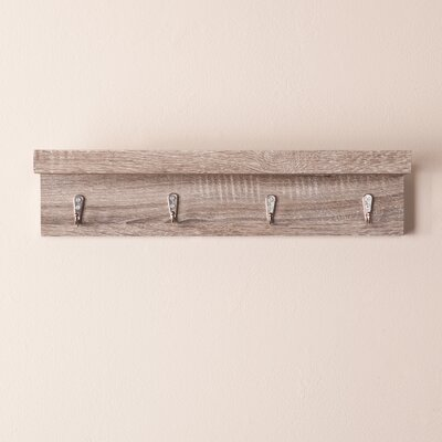 Alex Wall Mount Shelf with Hooks Finish: Weathered Gray