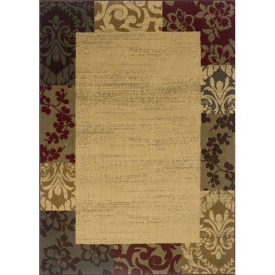 Garmon Beige/Red Area Rug Rug Size: Rectangle 26 x 45
