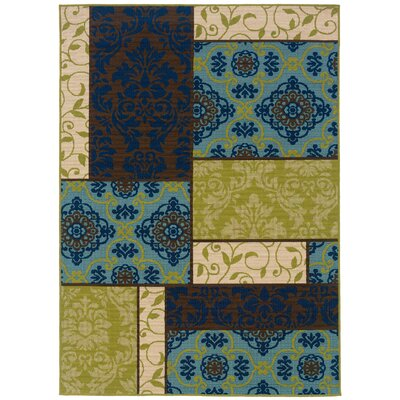 Newfield Brown/Blue Indoor/Outdoor Area Rug Rug Size: Rectangle 53 x 76