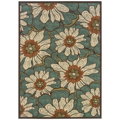 Newfield Hand-Woven Blue/Brown Indoor/Outdoor Area Rug Rug Size: Rectangle 37 x 56