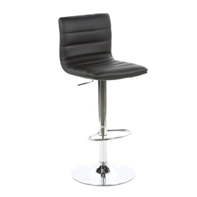 Colorado City Adjustable Height Swivel Bar Stool Upholstery: Black