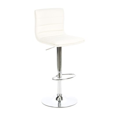 Colorado City Adjustable Height Swivel Bar Stool Upholstery: White