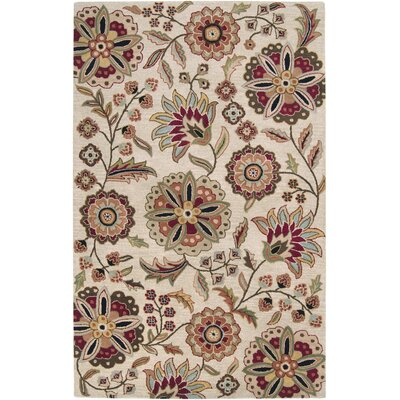 Jasmine Parchment Tufted Wool Area Rug Rug Size: Rectangle 5 x 8