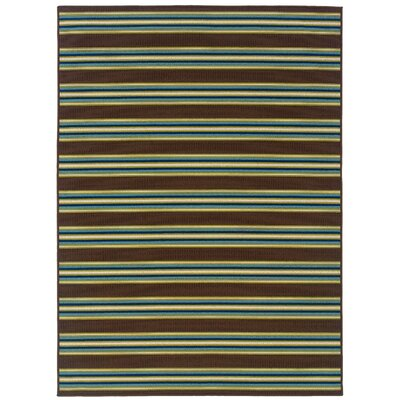 Brendel Brown/Green Striped Indoor/Outdoor Area Rug Rug Size: Rectangle 37 x 56