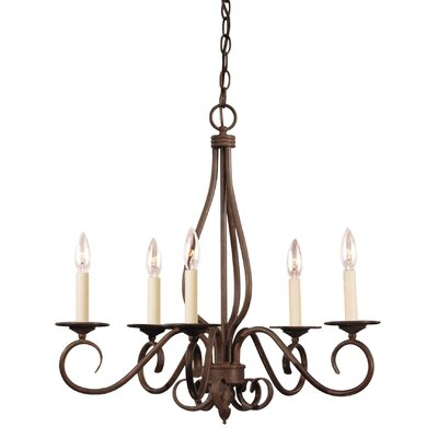 Gaul 5-Light Candle-Style Chandelier Finish: English Bronze