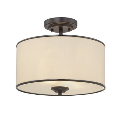 Khloe 2-Light Semi Flush Mount Finish / Shade: English Bronze / Cream