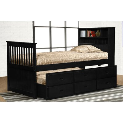 Lola Twin Slat Bed with Bookcase and Storage