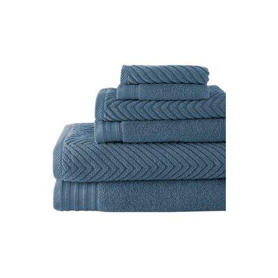 Wildon Home 6 Piece 100% Cotton Solid Towel Set - Color: Denim