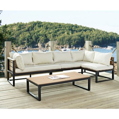 4 Piece Sectional Set With Cushions Frame Color: Black