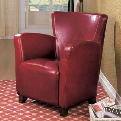 Suisan City High Back Wingback Chair Upholstery: Red