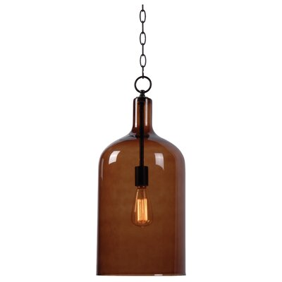 Schueller 1-Light Pendant Shade Color: Amber Glass