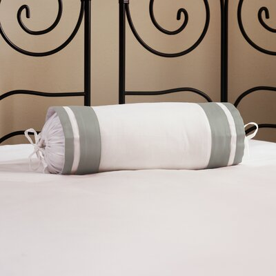 Inlay ed Neck Roll Cotton Bolster Color: Platinum Gray