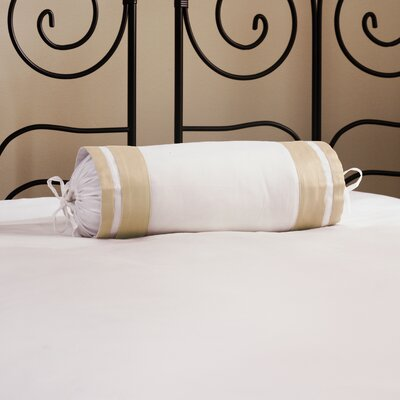 Inlay ed Neck Roll Cotton Bolster Color: Ecru
