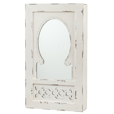 Jacques Shabby Elegance Wall Mounted Jewelry Armoire with Mirror