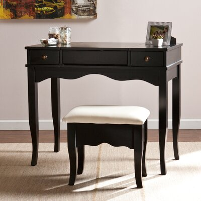 Brinson Vanity and Bench Set Color: Black / White