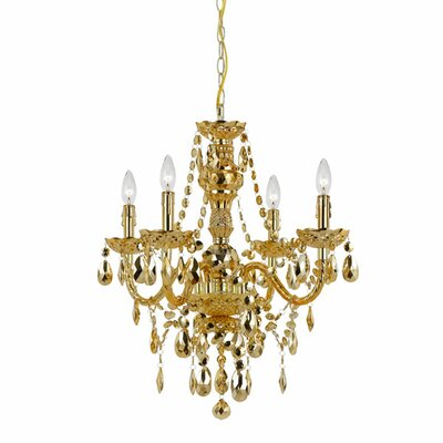 Beauvais 4-Light Crystal Chandelier Finish: Gold