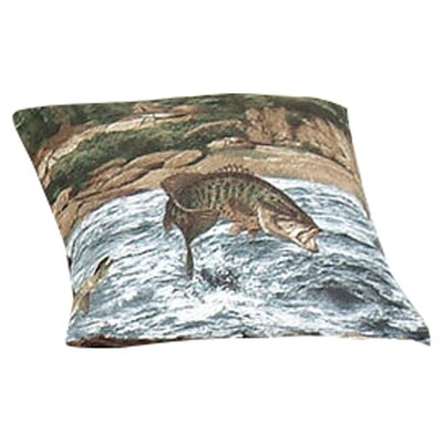 River Fishing Cotton Throw Pillow