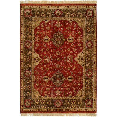 Dammam Hand-Knotted Red/Brown Area Rug Rug Size: 6 x 9