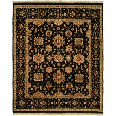Doha Hand-Knotted Black/Orange Area Rug Rug Size: Runner 26 x 12