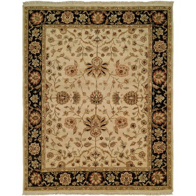 Hand-Knotted Beige/Brown Area Rug Rug Size: 10 x 14