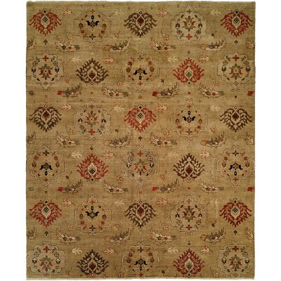Sharjah Hand-Knotted Gold Area Rug Rug Size: 6 x 9