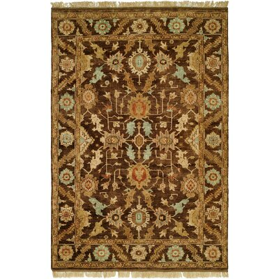 Khafji Hand-Knotted Brown Area Rug Rug Size: 6 x 9