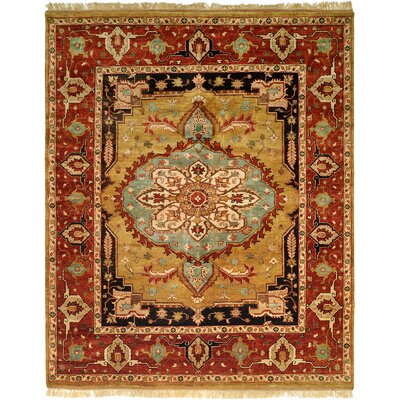 Khobar Hand-Knotted Brown/Gold Area Rug Rug Size: Runner 26 x 12