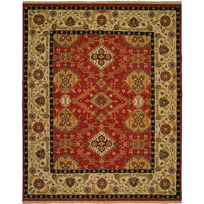 Khalifa Hand-Woven Red/Ivory Area Rug Rug Size: Rectangle 10 x 14