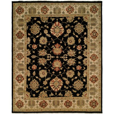 Aqaba Hand-Knotted Black/Brown Area Rug Rug Size: Round 6