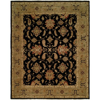 Asseb Hand-Knotted Black/Camel Area Rug Rug Size: Rectangle 4 x 6