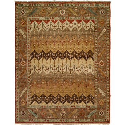 Eilat Hand-Knotted Brown/Gold Area Rug Rug Size: Square 6