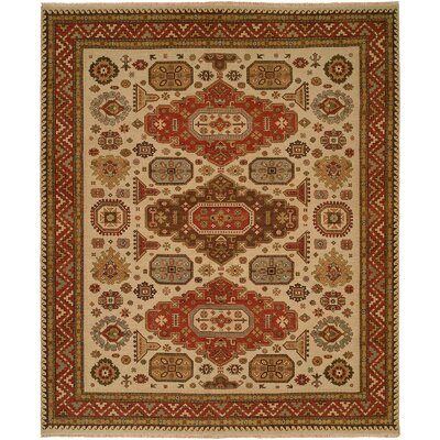 Jeddah Hand-Woven Ivory/Brown Area Rug Rug Size: Rectangle 4 x 6