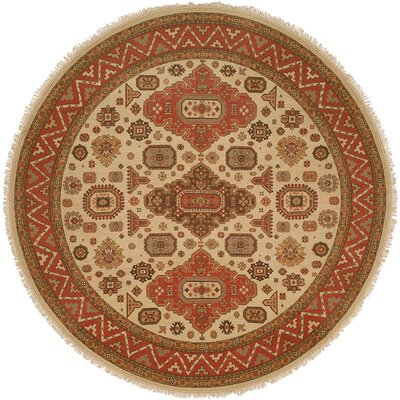 Jeddah Hand-Woven Ivory/Brown Area Rug Rug Size: Round 8