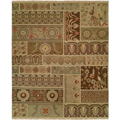Massawa Hand-Woven Brown/Green Area Rug Rug Size: 5 x 7